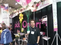 pickOntario at Canada Blooms 2014.  This is Cary Gates our Pesticide and Minor Use Director handing our balloons
